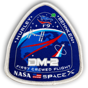 EL2-011 SpaceX Nasa DM-2 First Crewed Flight Mission Patch rare version with Shamrock F9