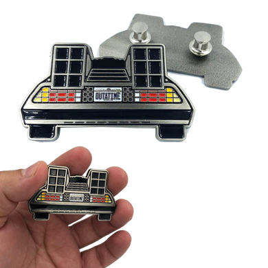 EE-020 Back to the Future Marty McFly Delorean Pin with double pin back and spring loaded clasps