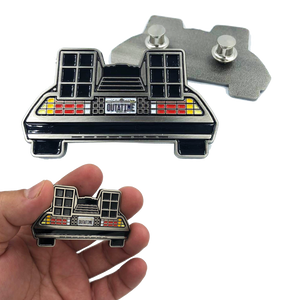 Back to the Future Marty McFly Delorean Pin with double pin back and spring loaded clasps
