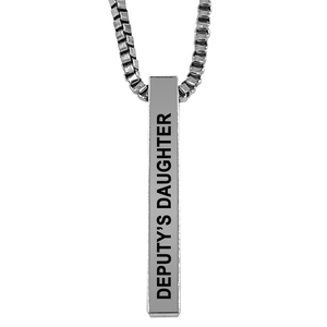 Deputy's Daughter Silver Plated Pillar Bar Pendant Necklace Gift Mother's Day Christmas Holiday Anniversary Police Sheriff Officer First Responder Law Enforcement