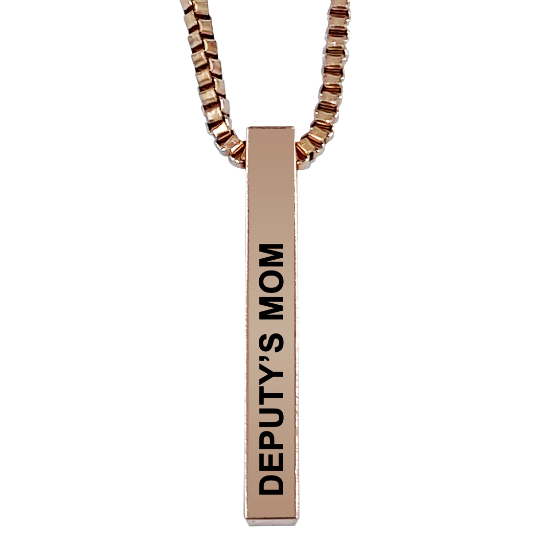 Deputy's Mom Rose Gold Plated Pillar Bar Pendant Necklace Gift Mother's Day Christmas Holiday Anniversary Police Sheriff Officer First Responder Law Enforcement