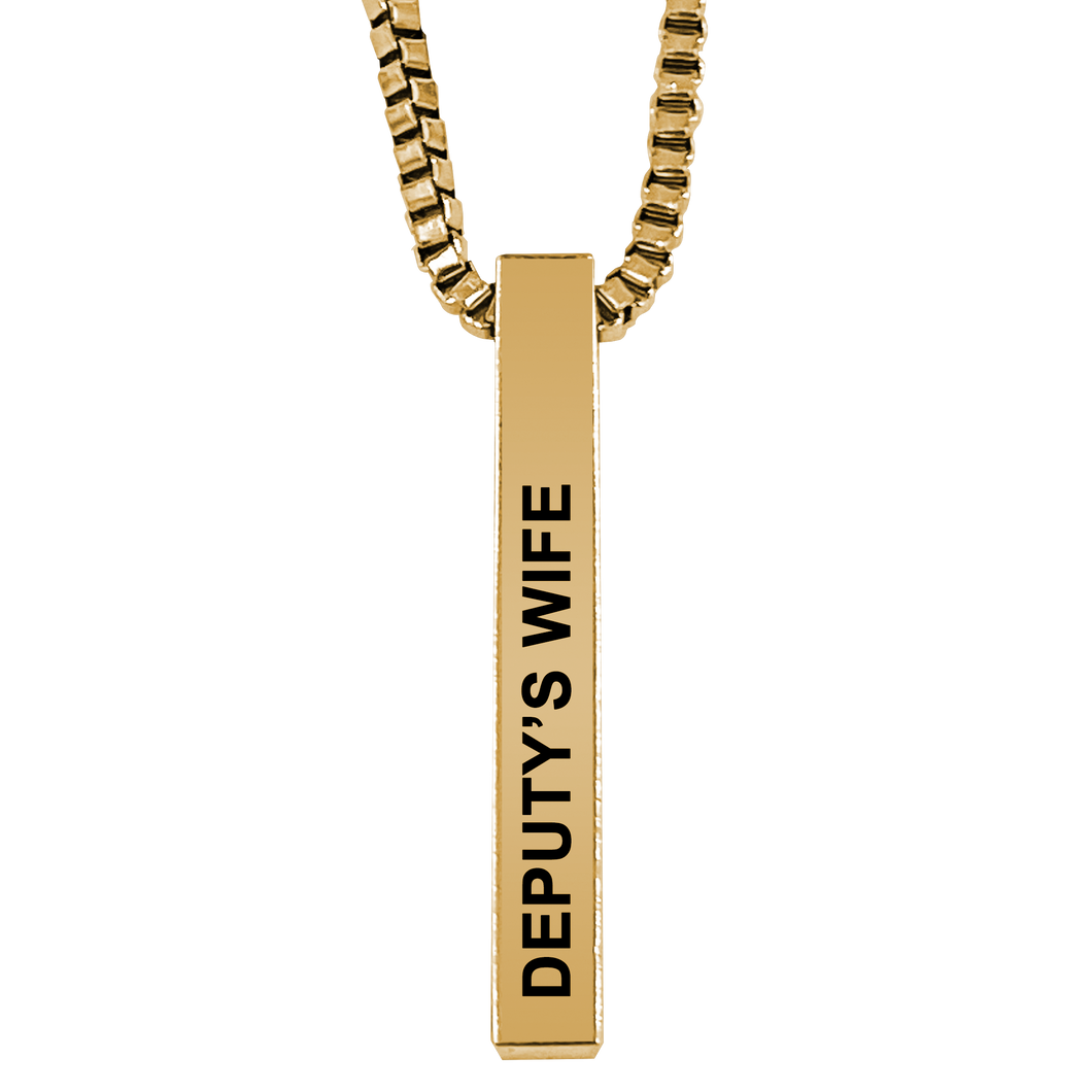 Deputy's Wife Gold Plated Pillar Bar Pendant Necklace Gift Mother's Day Christmas Holiday Anniversary Police Sheriff Officer First Responder Law Enforcement