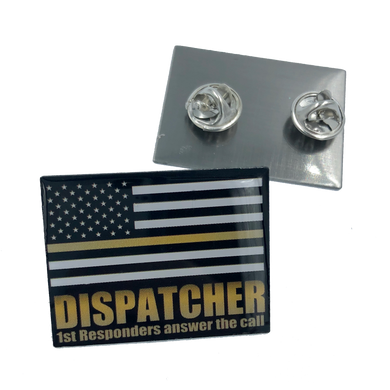 911 Emergency Dispatcher Thin Gold Line Flag Pin