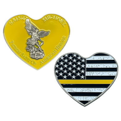 EL4-002 Thin GOLD Line St. Michael Heart Love Prayer Patron Saint of American Heroes 911 Dispatcher Emergency
