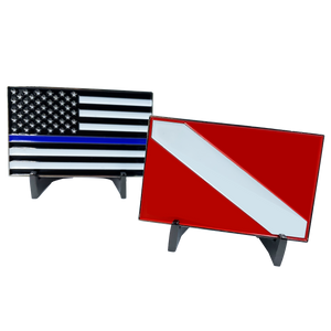 DD-010 Dive Flag Challenge Coin with Thin Blue Line U.S. Flag POLICE Rescue Diver Scuba Diving