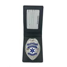 BL3-008 Leather Wallet with EMT PARAMEDIC EMS Emergency Medical Technician Badge Ambulance