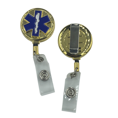 EMT EMS Paramedic Ambulance RETRACTABLE metal ID reel Medic Star of Life