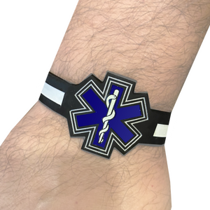 EMT EMS Paramedic Star of Life Silicon Bracelet (glow in the dark thin white line)
