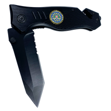 FBI collectible 3-in-1 Police Tactical Rescue Knife for Law Enforcement First Responders with Seatbelt Cutter, Steel Serrated Blade, Glass Breaker
