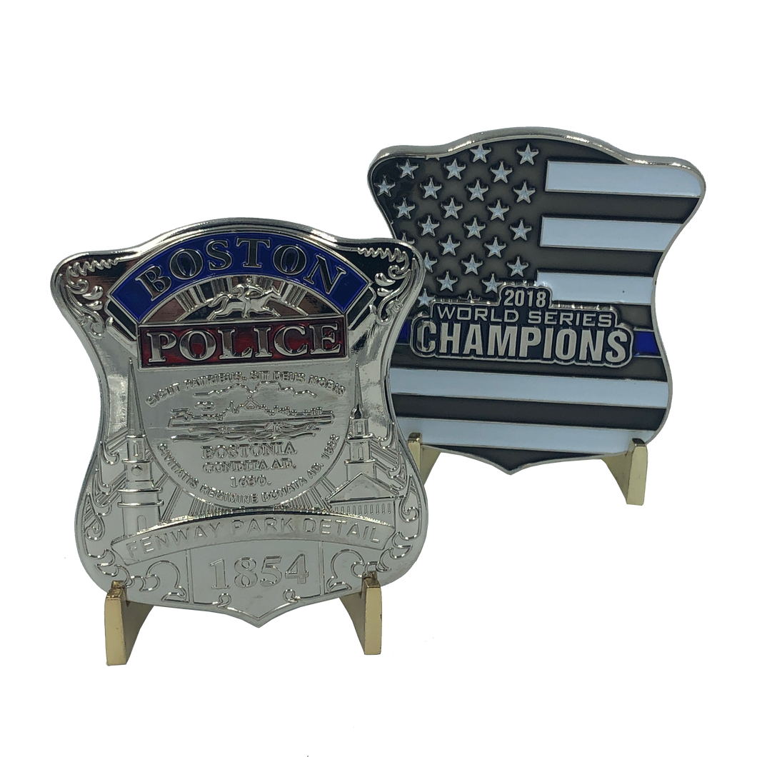 G-012 Boston Red Sox Fenway Park Detail 2018 World Series Champions Challenge Coin Police Thin Blue Line
