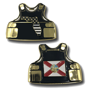 A-001 Thin Gray Line Florida Correctional Officer Police Body Armor State Flag Corrections CO Challenge Coins