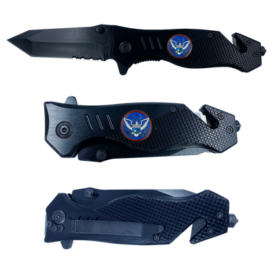 CBP Field Operations collectible Officer 3-in-1 Police Tactical Rescue Knife for Field Operations with Seatbelt Cutter, Steel Serrated Blade, Glass Breaker OPS