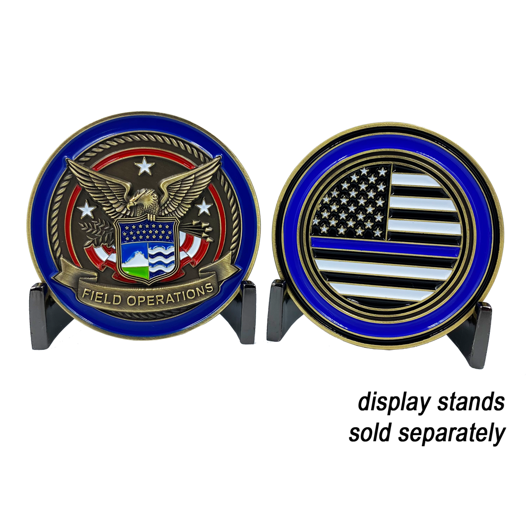 GG-001 CBP Field Operations Challenge Coin Field Ops Thin Blue Line Police Officer