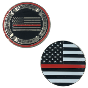 Thin Red Line Fire Fighter Core Values Challenge Coin Police Firefighter Department