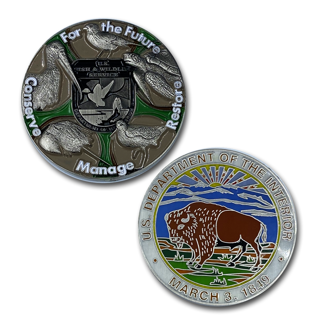 Fish and Wildlife Service FWL & FWS challenge coins