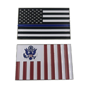 Customs Flag Challenge Coin with Blue Line U.S. Flag