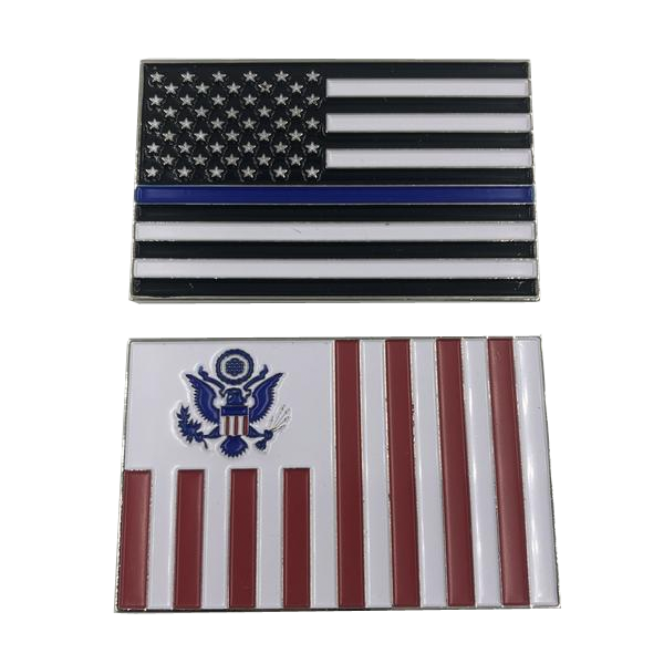 I-009 Customs Flag Challenge Coin with Thin Blue Line U.S. Flag