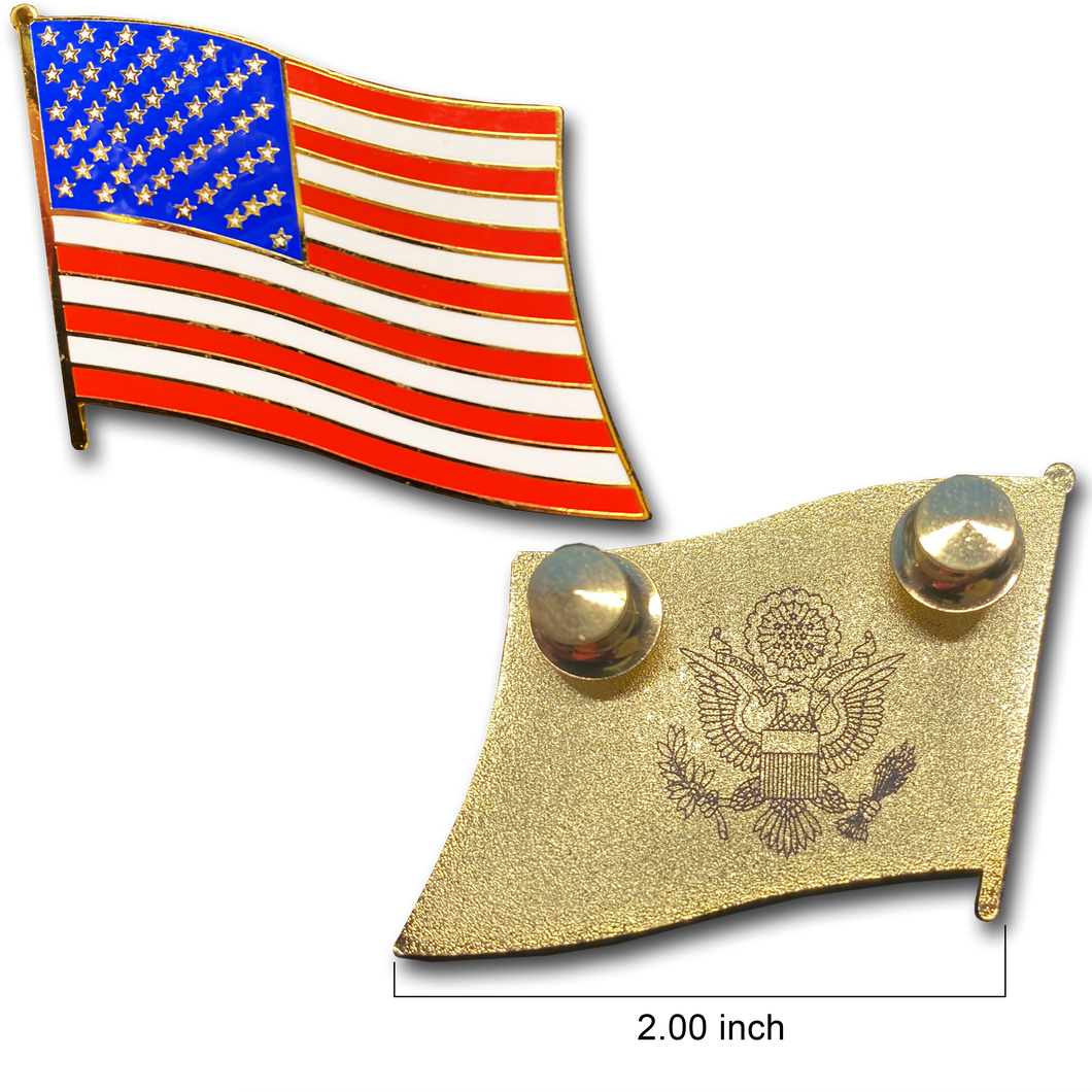 Large cloisonné American Flag Lapel Pin with 2 pin posts and deluxe clasps, U.S. Stars are Stripes, Old Glory US USA Presidential
