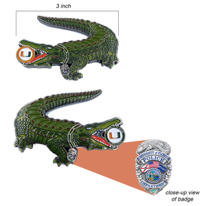 Florida Gators Challenge Coin Police Badge K9 UM Hurricanes University of Miami Canes