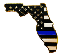 Florida Thin Blue Line Police Pin with 2 pin posts and deluxe clasps