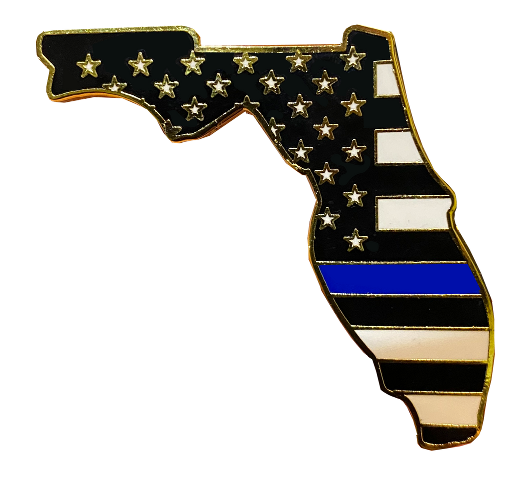 HH-021 Florida Thin Blue Line Police Pin with 2 pin posts and deluxe clasps