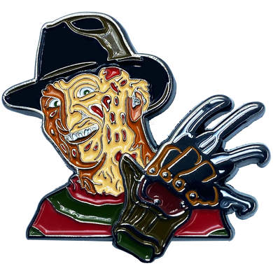 CL2-02 Nightmare on Elm Street Freddy Krueger Pin with double pin back and spring loaded clasps