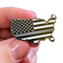 Thin Gray Line Corrections U.S. Map Pin with 2 pin posts and deluxe pin clasps Correctional Officer CO