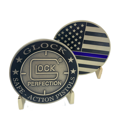 J-019 Glock inspired Thin Blue Line Police Challenge Coin