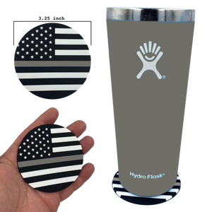 DL4-03 Thin Gray Line Correctional Officer American Flag Silicone Coaster for drinks CO Corrections