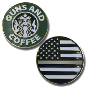 Thin Gray Line Guns and Coffee Challenge Coin Police Correctional Officer Corrections