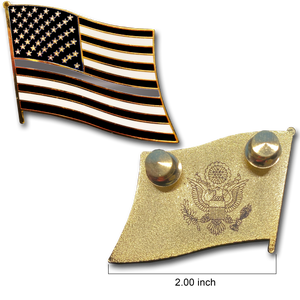 Thin Gray Line Correction Large cloisonné American Flag Lapel Pin with 2 pin posts and deluxe clasps, Correctional Officer Grey