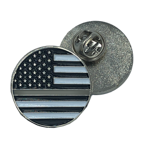 CL7-03 Thin Gray Line pin Corrections american flag Correctional Officer (round)