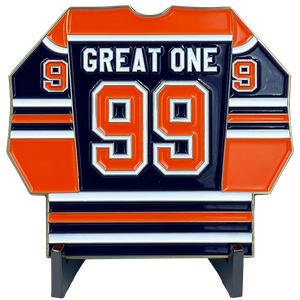 DL11-08 The Great One Challenge Coin Inspired by Wayne Gretzky 99 Edmonton Jersey USA Canada