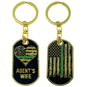 AA-007 Agent's Wife Thin Green Line American Flag Challenge Coin Keychain Border Patrol BP CBP