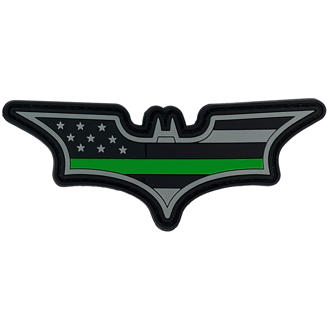 CL4-12 Batman inspired Green Line PVC Patch hook and loop back Border Patrol Army Marines Deputy Sheriff