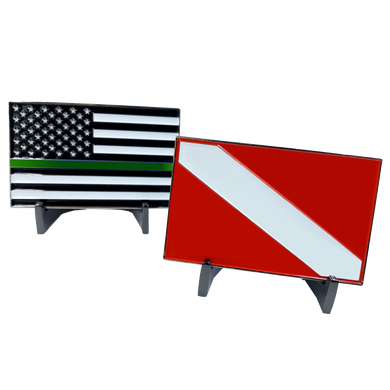 CL13-11 Dive Flag Challenge Coin with Thin Green Line U.S. Flag POLICE Deputy Sheriff Border Patrol Agent Rescue Diver Scuba Diving Army Marines Military