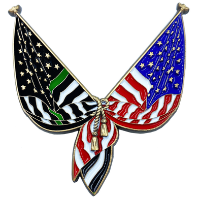 DL10-03 Thin Green Line Flag Pin 2 inch with dual pin posts Border Patrol Agent Deputy Sheriff Military Army Marines