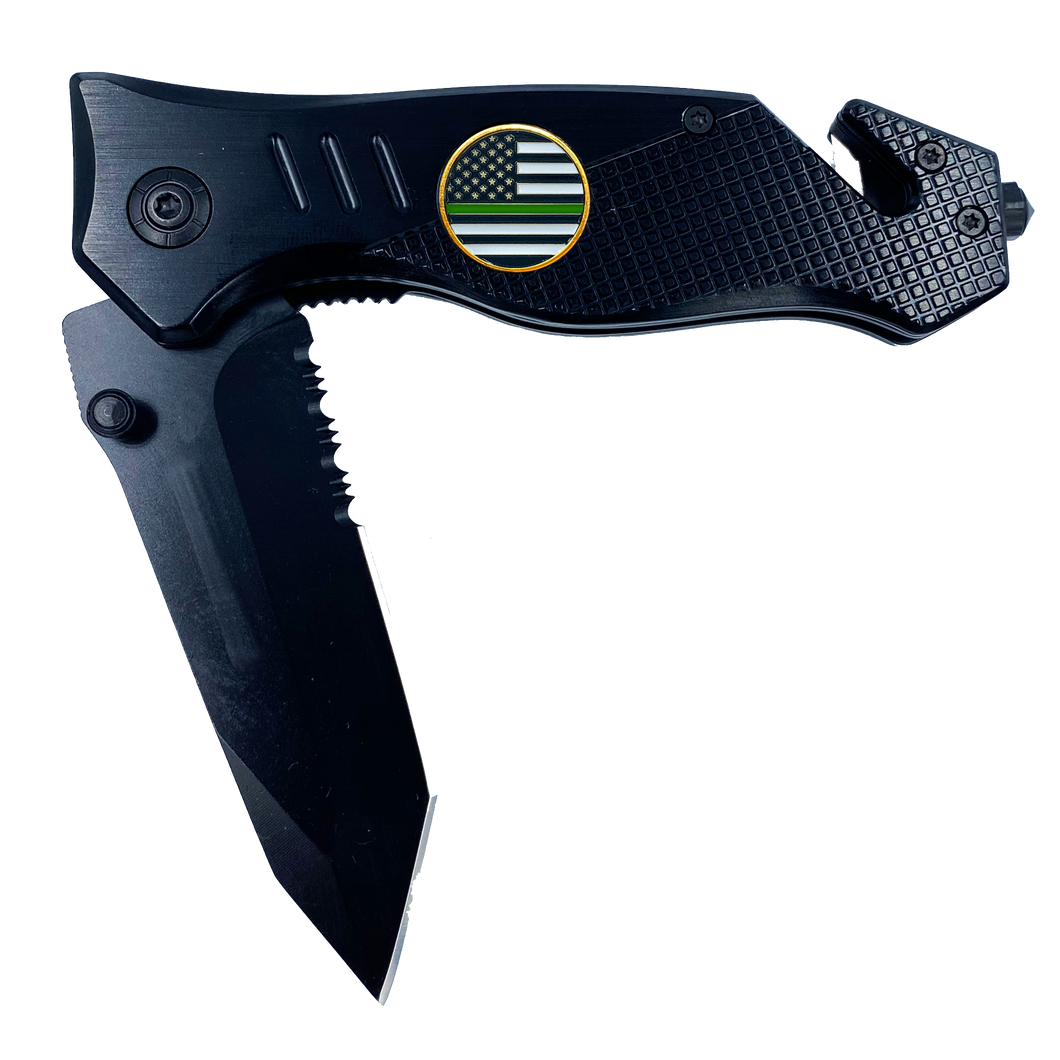 Thin Green Line Police collectible 3-in-1 Tactical Officer Rescue Knife with Seatbelt Cutter, Steel Serrated Blade, Glass Breaker Border Patrol Army Marines Deputy Sheriff BPA CBP