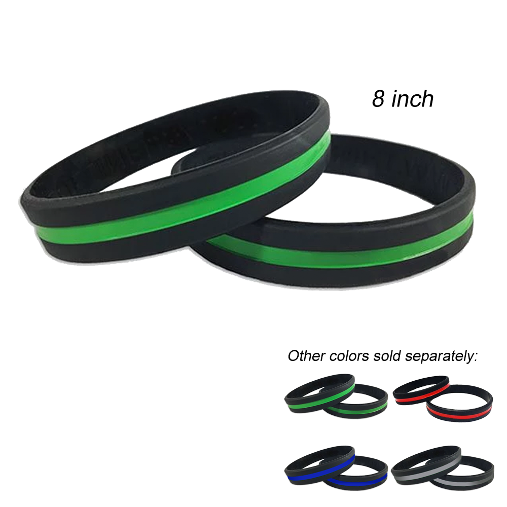 Thin Green Line Police Silicon Bracelet (GREEN) Military, Sheriff, Border Patrol, Marines, Army, Security