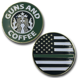 Thin Green Line Guns and Coffee Challenge Coin Police CBP FBI ATF BORDER PATROL STARBUCKS PARODY
