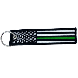 DD-001 Thin Green Line Sheriff Deputy Military Flag Law Enforcement Border Patrol Keychain or Luggage Tag or zipper pull Army Marines Security