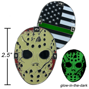 A-009 Thin Green Line Jason Voorhees Goalie Mask Friday the 13th Sheriff Border Patrol CBP