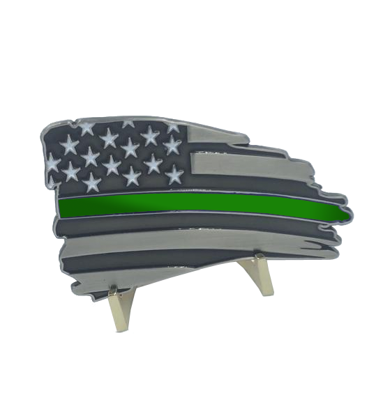 L-32 Metal Thin Green Line Flag Decal with 3M Tape