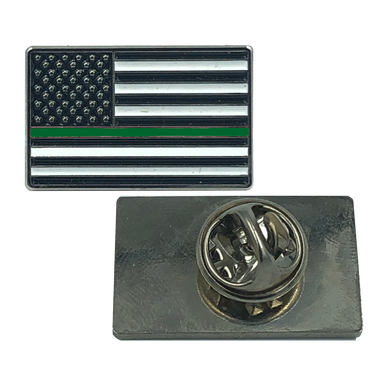GREEN Line Flag Pin: Border Patrol, CBP, Army, Sheriff, Security