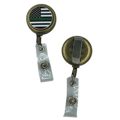 Thin Green Line Metal ID Reel retractable ID Card Holder CBP Border Patrol Sheriff Army security