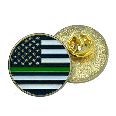 Thin Green Line pin american flag Army, Security, Border Patrol, Sheriff (round)