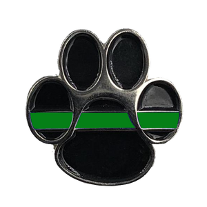 CL6-011 K9 Paw Thin Green Line Canine Lapel Pin Police Deputy Sheriff Border Patrol Military Army Marines