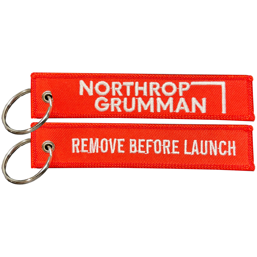 BL6-013 Northrop Grumman REMOVE BEFORE LAUNCH Keychain or Luggage Tag or zipper pull SpaceX Nasa Space Force