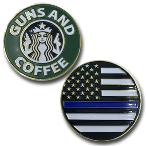 Thin Blue Line Guns and Coffee Challenge Coin Police NYPD CBP FBI ATF Law Enforcement STARBUCKS PARODY