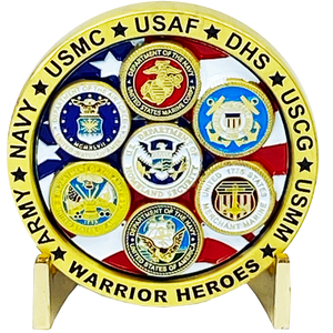 DL3-08 Military Warrior Heroes Challenge Coin Navy Air Force Marine Corps. Army Coast Guard Homeland Merchant Marines Veteran